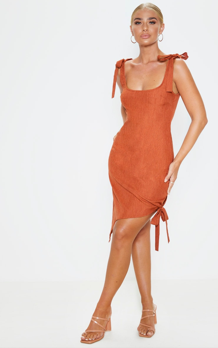 Rust Woven Tie Shoulder Asymmetric Hem Midi Dress 1