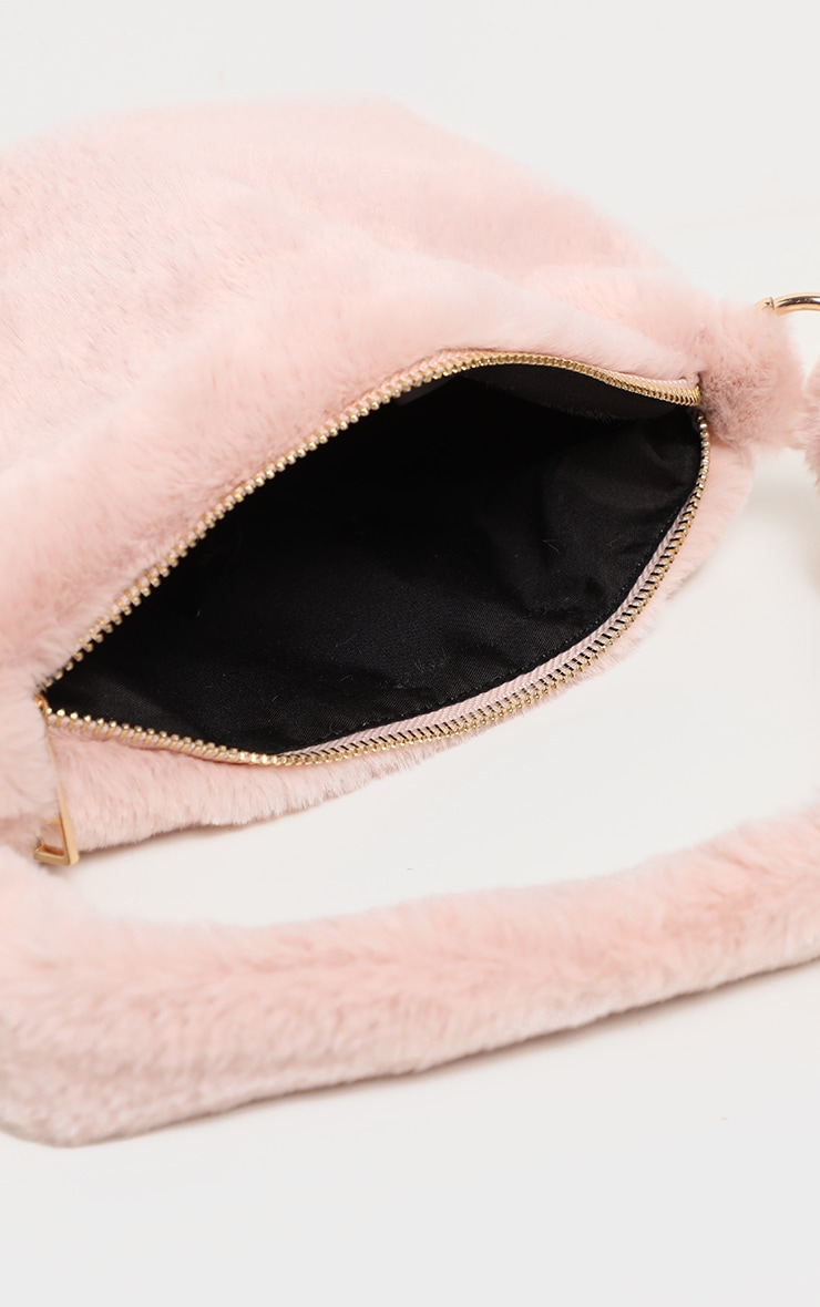 Dusty Pink Faux Fur Shoulder Bag 3
