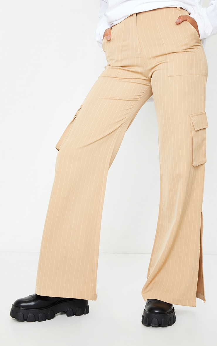 Stone Pinstripe Wide Leg Pocket Detail Pants 2