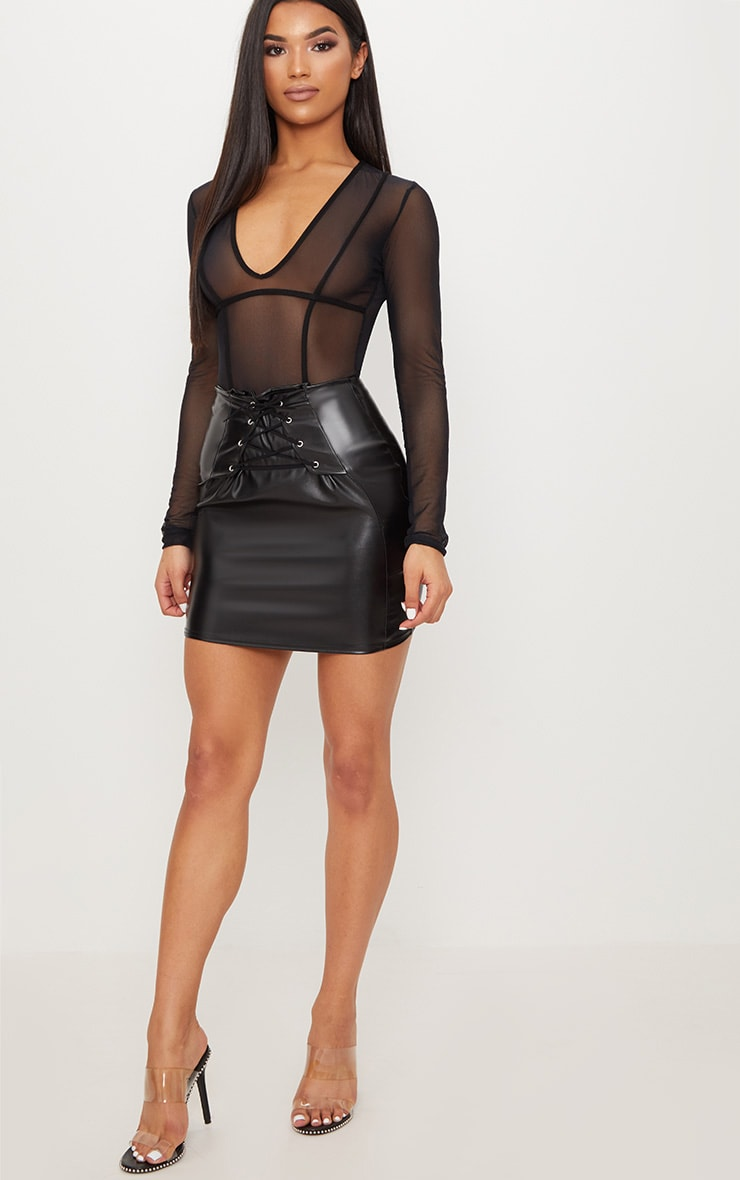 Black Lace Up Front Faux Leather Mini Skirt  5