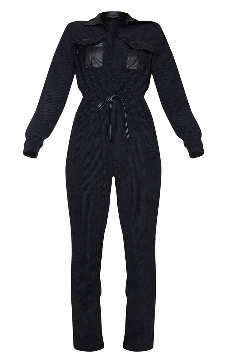 Black PU Pocket Detail Button Cord Jumpsuit 5