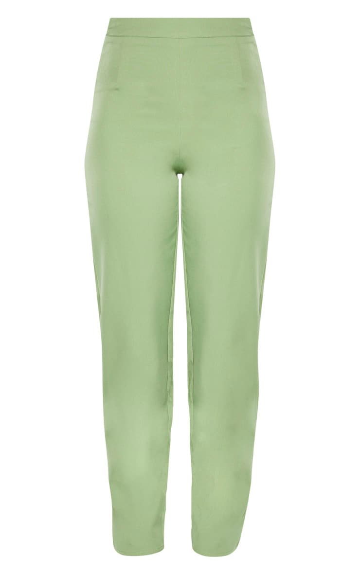 Tall Sage Green Wide Leg Slim Cuff Suit Trousers 3
