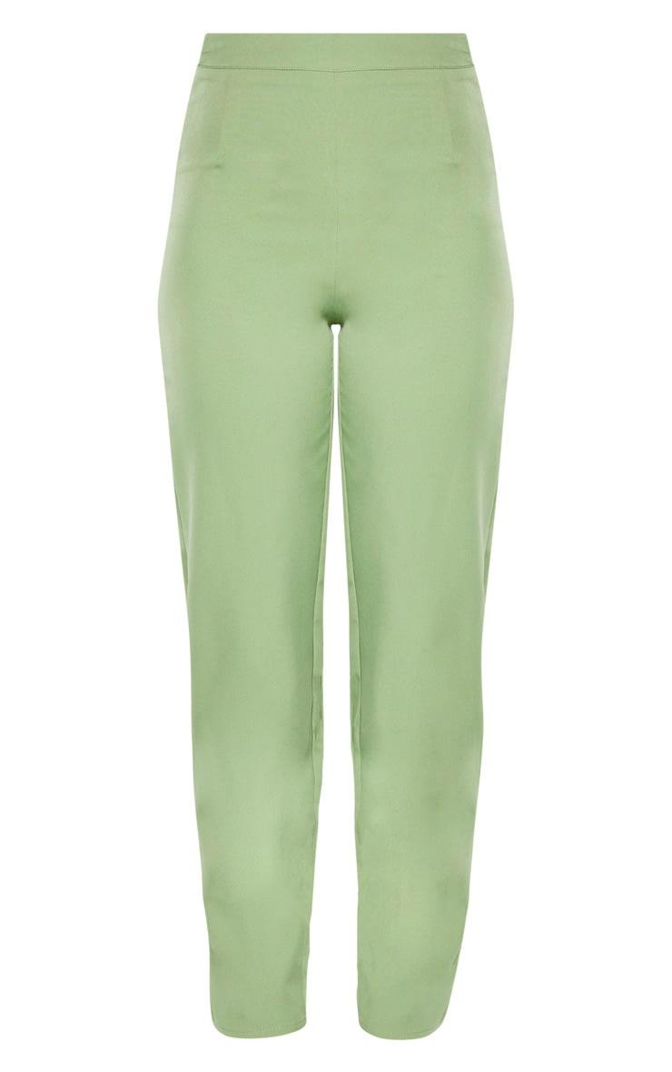 Tall Sage Green Wide Leg Slim Cuff Suit Pants 3