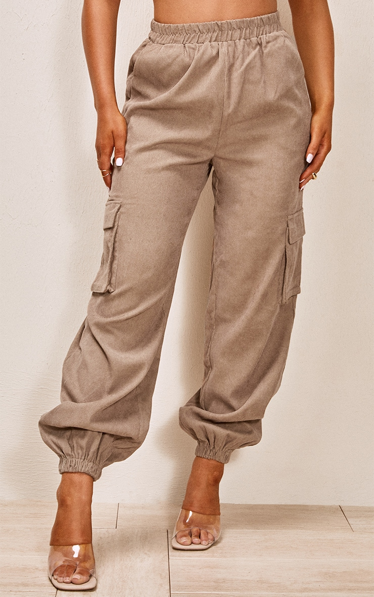 Taupe Cord Pocket Detail Cargo Pants 2
