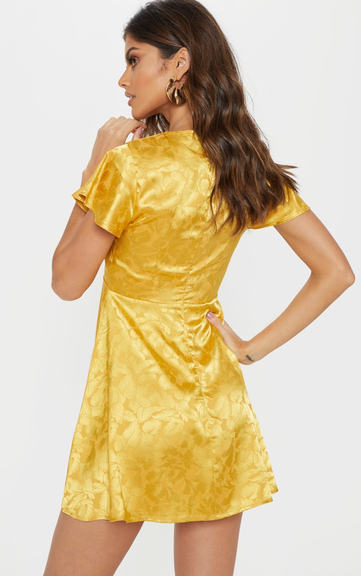 Mustard Floral Jacquard Ruched Top Skater Dress 2