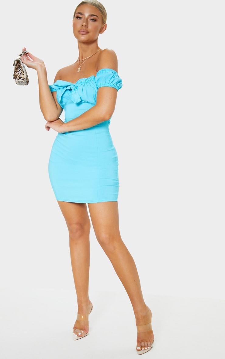 Aqua Woven Bardot Tie Front Bodycon Dress 4