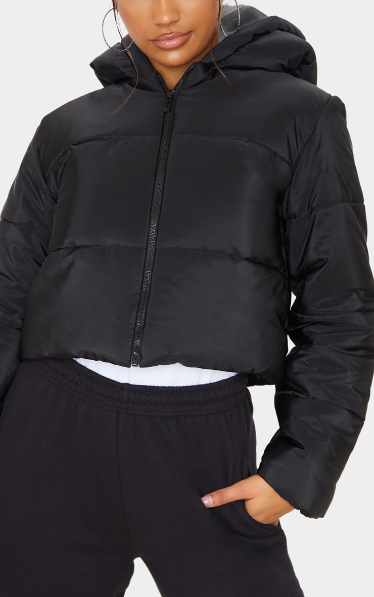 Black Hooded Cropped Puffer  5