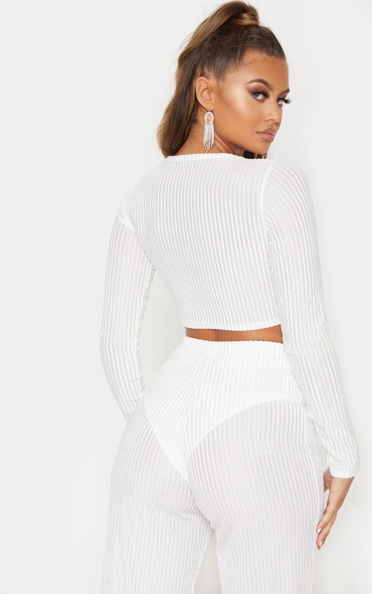 White Velvet Sheer Stripe Knot Detail Long Sleeve Top 3