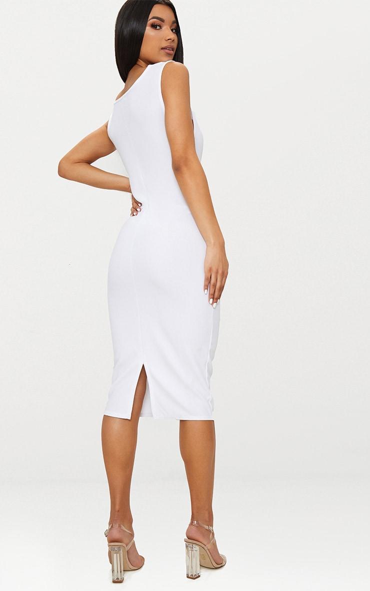 White Cowl Neck Sleeveless Midi Dress 2