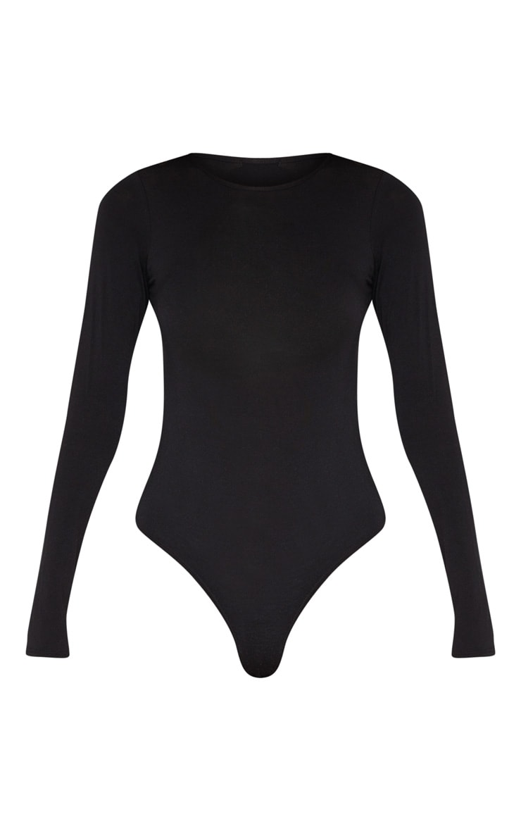 Tall Black Basic Crew Neck Long Sleeve Bodysuit 3