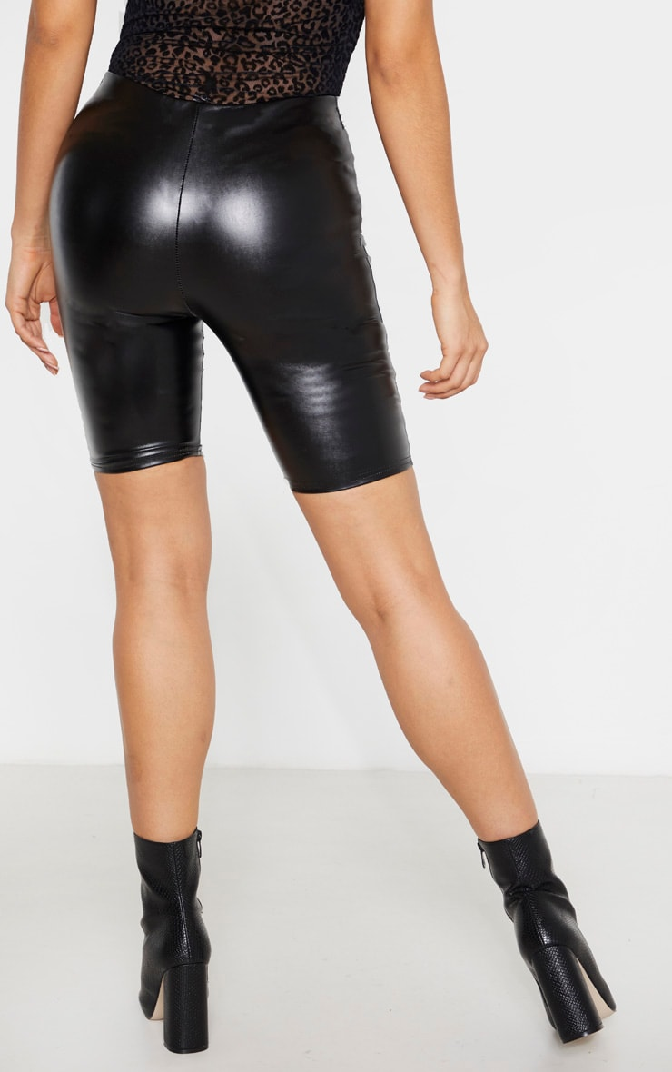 Tall  Black  Faux Leather Bike Short  4