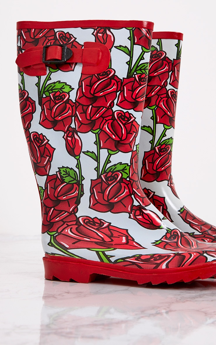 Red Rose Print Long Wellies  6