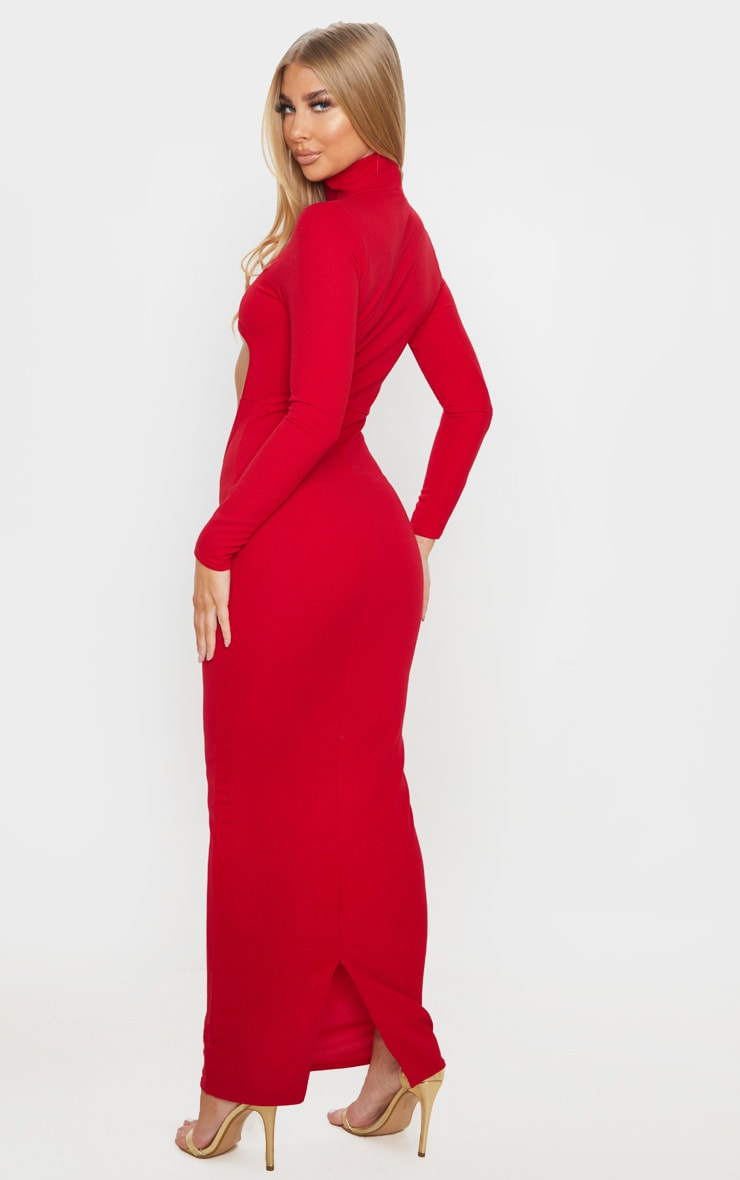 Red High Neck Long Sleeve Extreme Centre Cut Out Midi Dress 2
