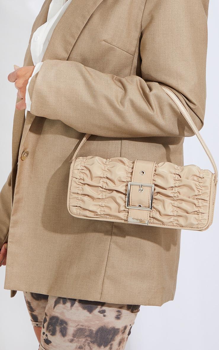 Beige Ruched Silver Buckle Shoulder Bag 2