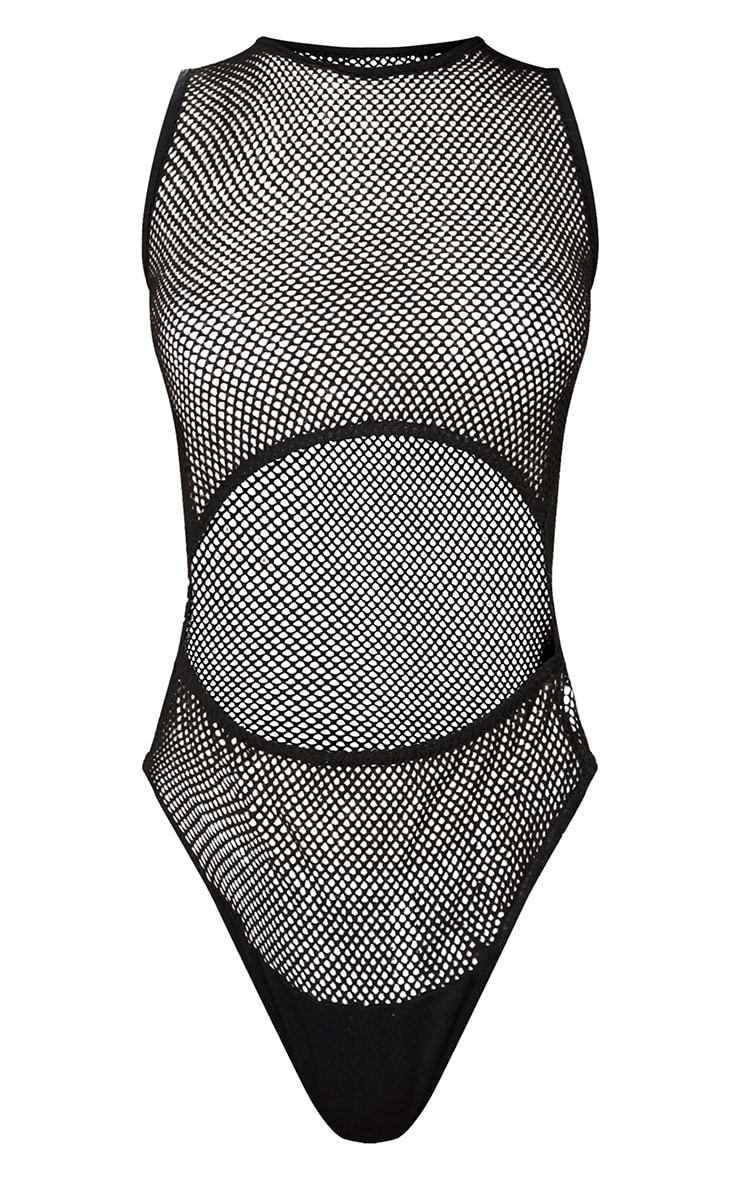 Black Fishnet Under Bust Thong Bodysuit  3