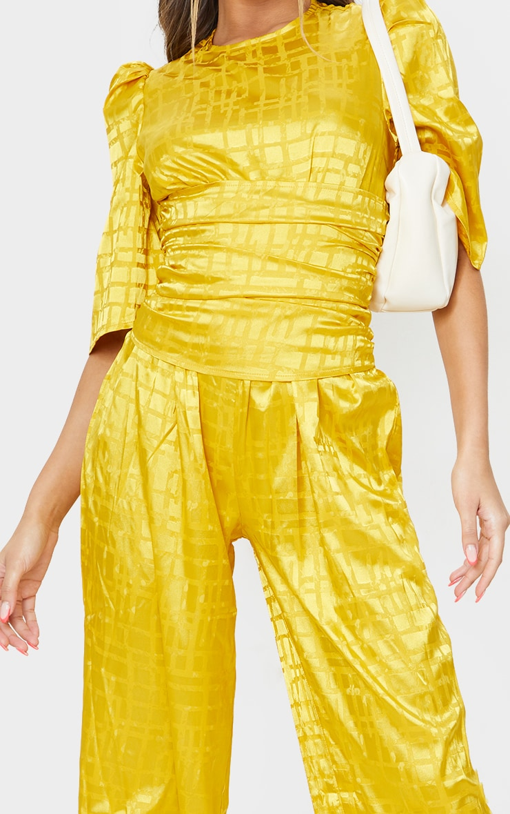 Chartreuse Satin Jacquard Short Sleeve Ruched Jumpsuit 4