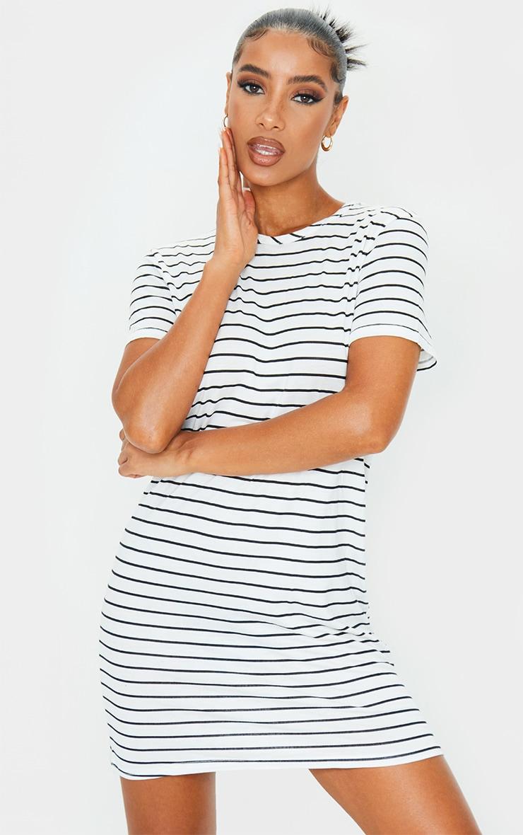 White and Black Striped Basic Short Sleeve Round Neck T Shirt Dress 1