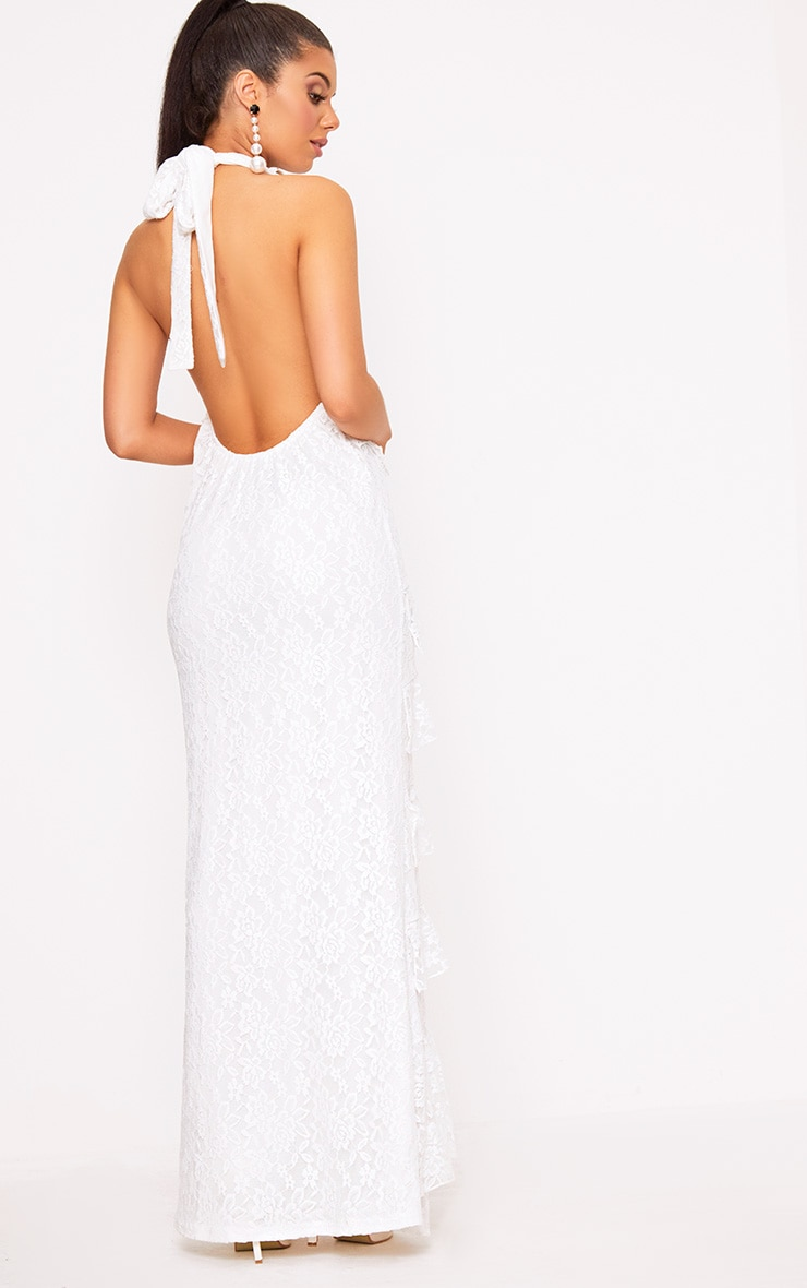 White Lace Frill Detail Maxi Dress 2