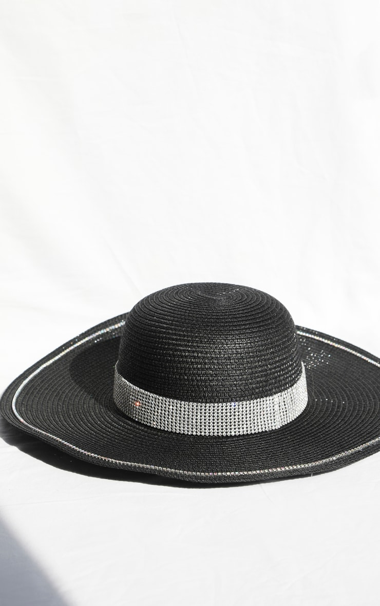 Black Straw Glitter Band Boater Hat 2