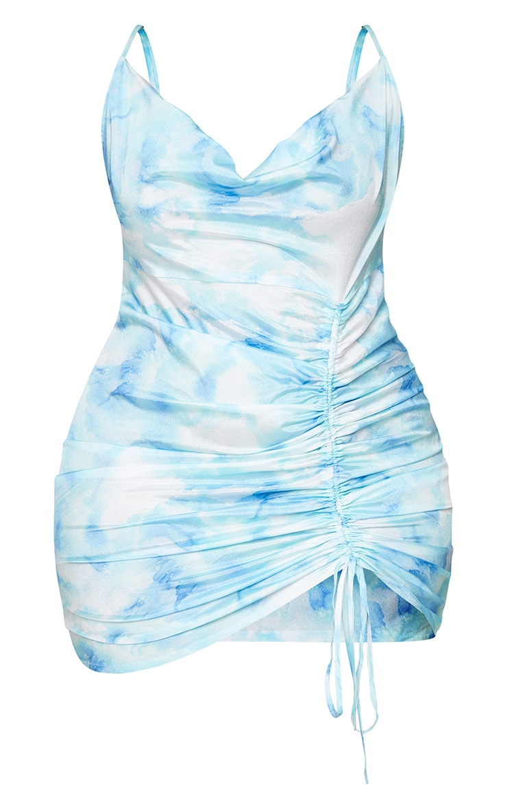 Plus Dusty Blue Tie Dye Cowl Ruched Front Bodycon Dress 5