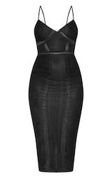 Black Lace Mesh Stripe Insert Midi Dress 3