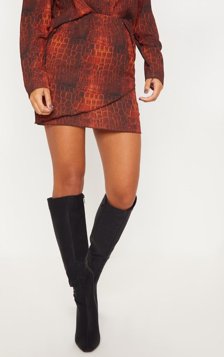 Brown Croc Print Wrap Mini Skirt 4