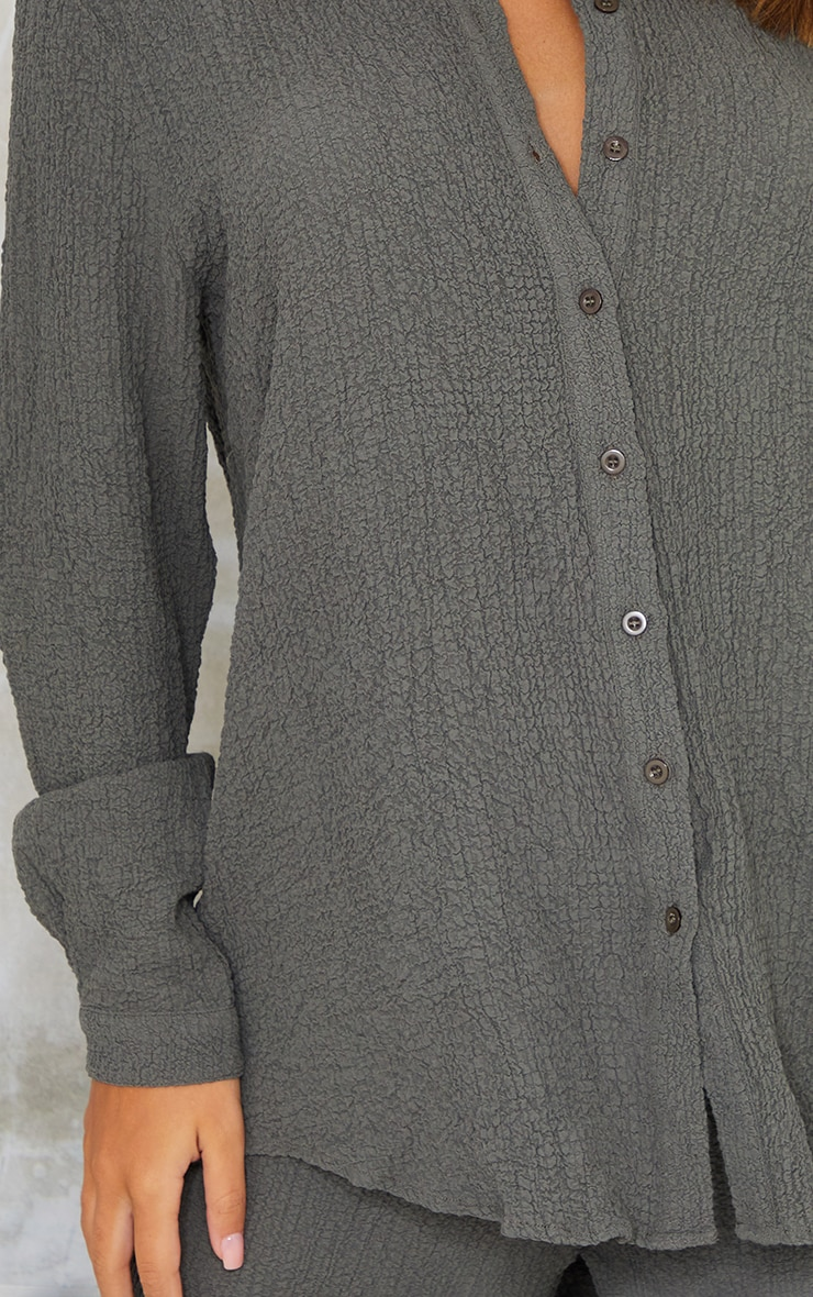 Grey Textured Crinkle Oversized Shirt 4