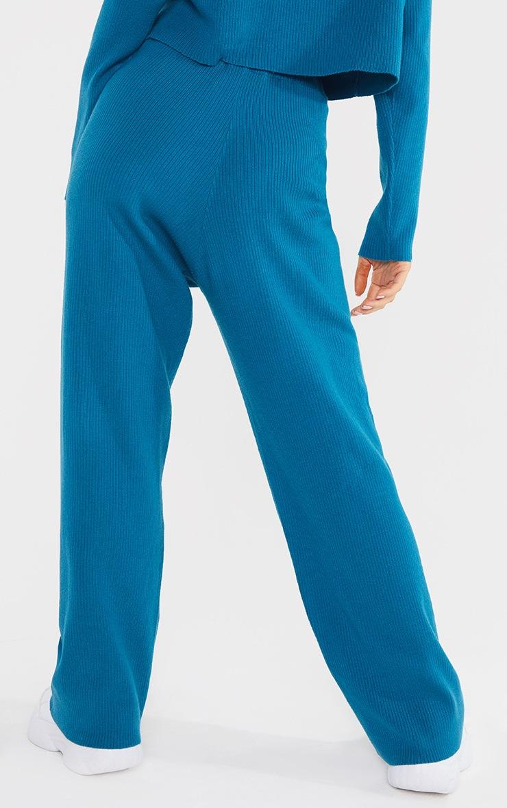 Petite Blue Soft Rib Wide Leg Joggers 3