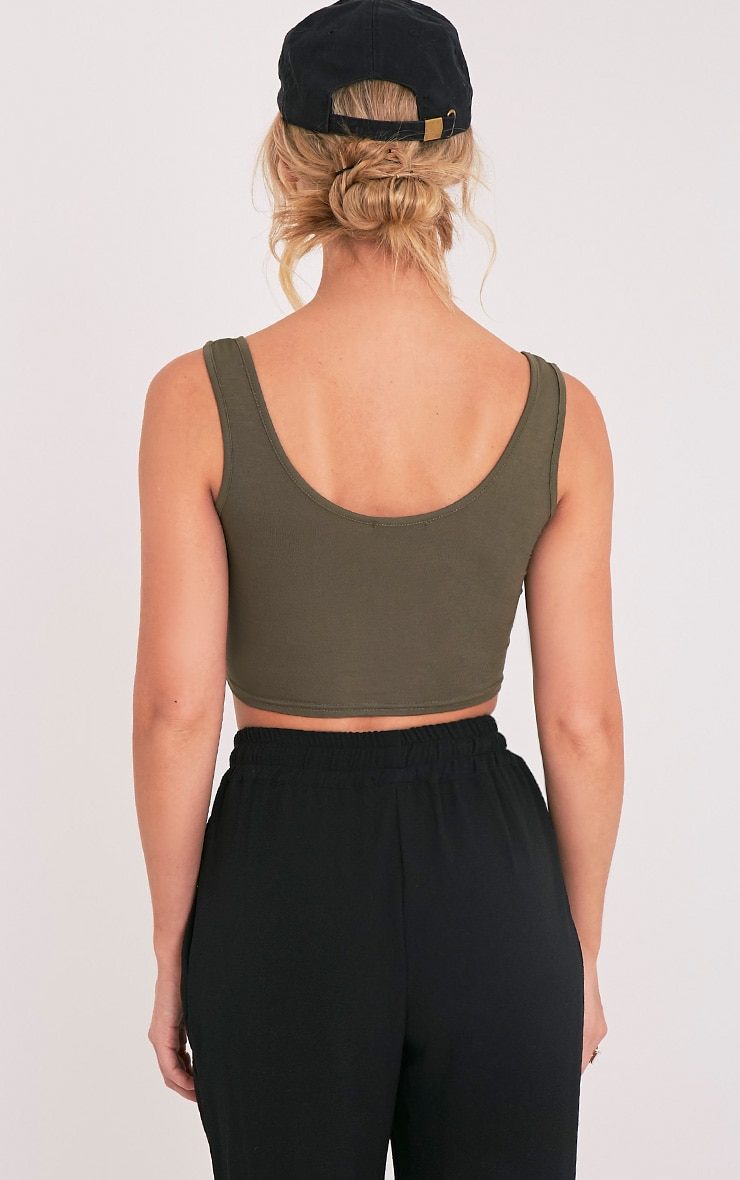 Basic Khaki Scoop Back Crop Top 2