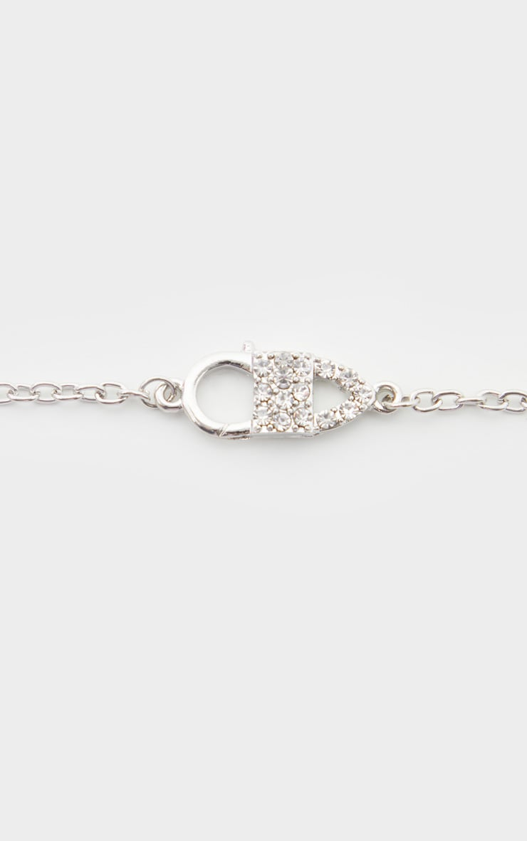 Silver Pave Pin Charm Necklace 4