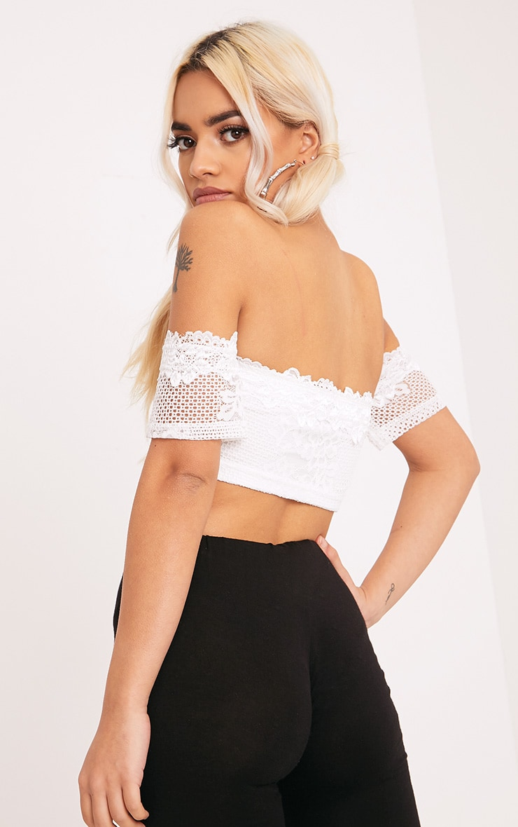 Alisia Cream Lace Bandeau Crop Top 2