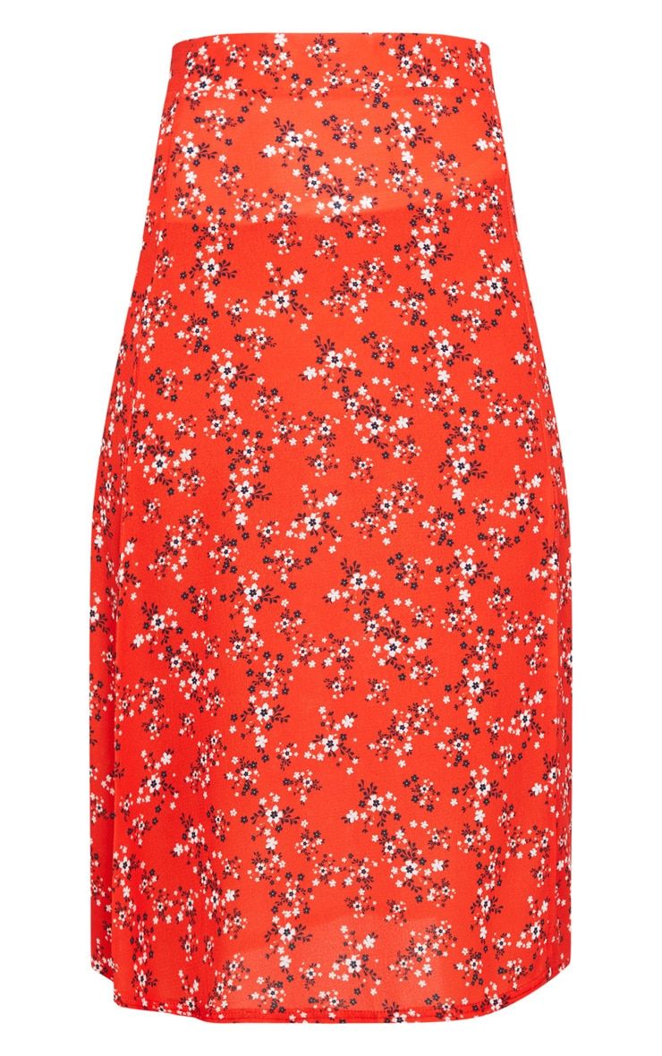 Red Ditsy Floral Floaty Midi Skirt 5