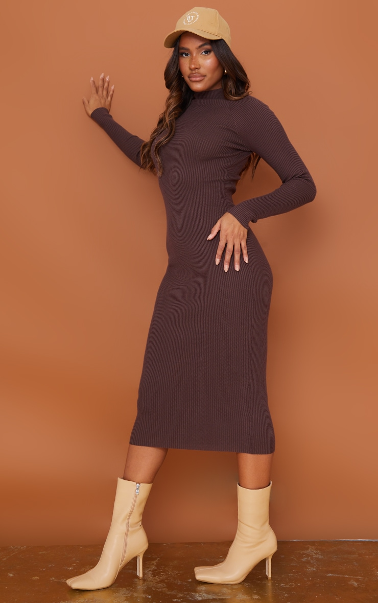 Chocolate Turtle Neck Knitted Bodycon Maxi Dress 3