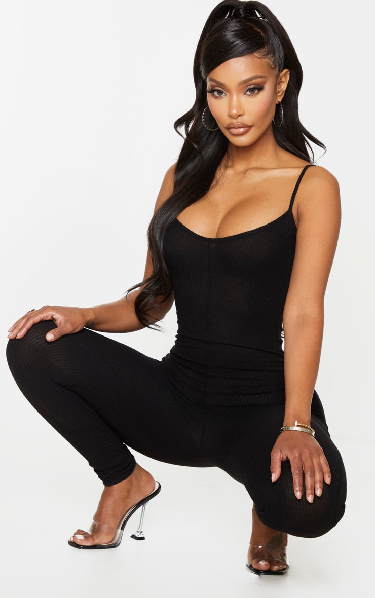 Shape Black Brushed Rib Strappy Jumpsuit 3