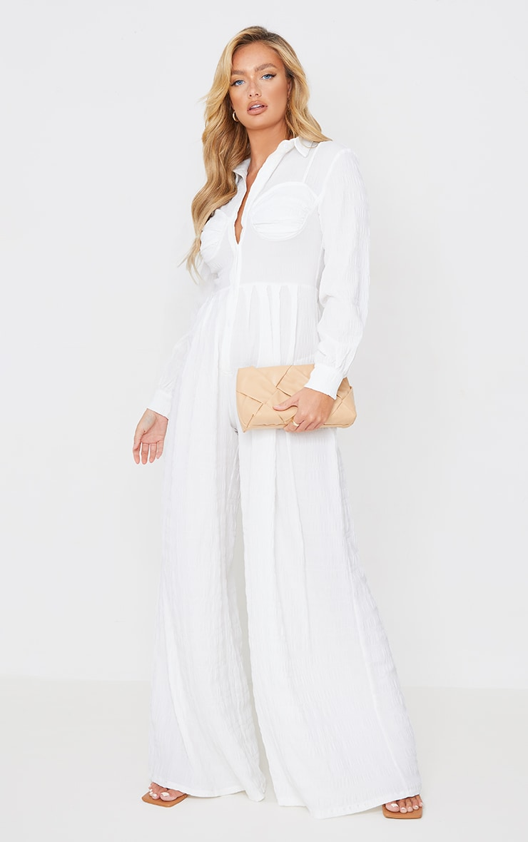 White Ruched Cup Wide Leg Shirt Jumpsuit 1