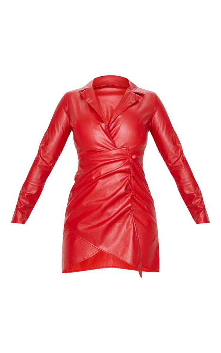 Red Faux Leather Long Sleeve Button Up Detail Bodycon Dress 3