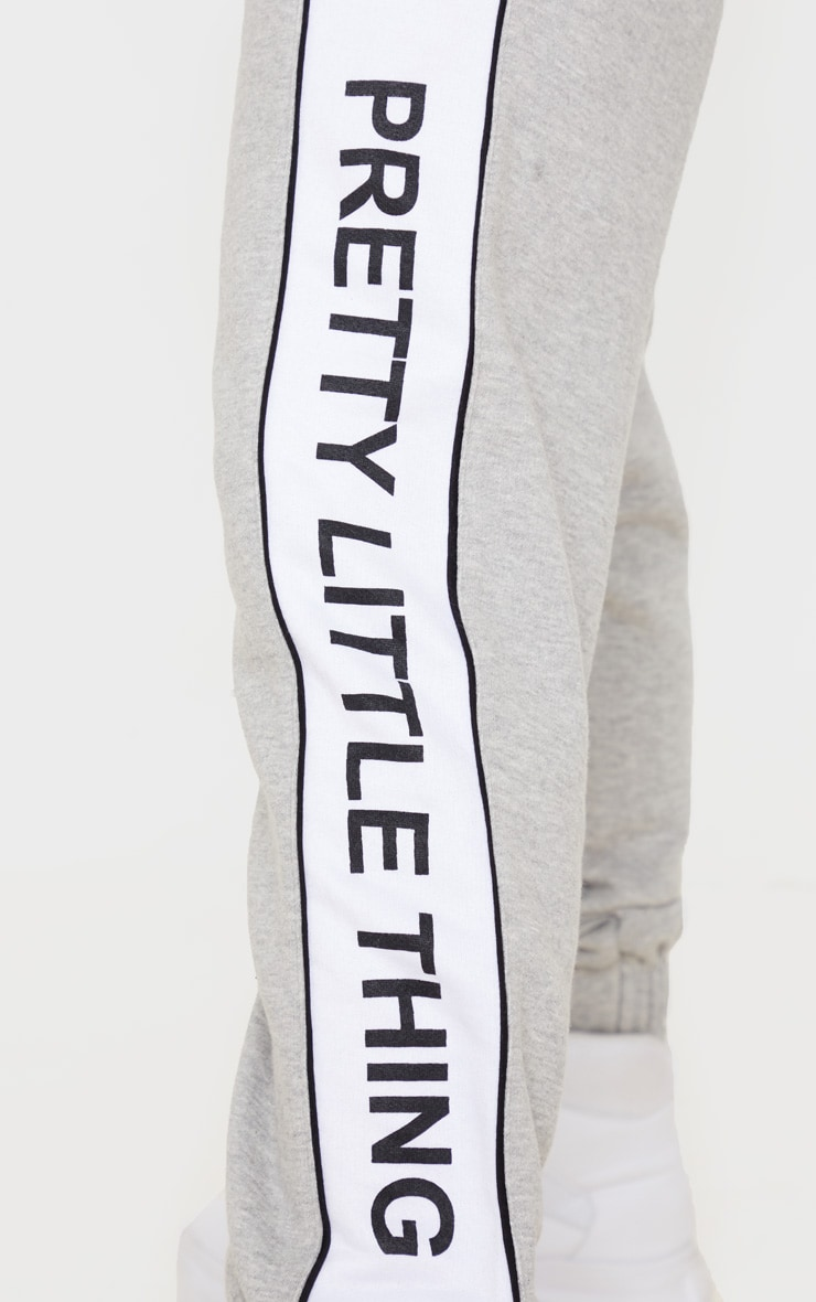 PRETTYLITTLETHING Grey Side Stripe Jogger 5
