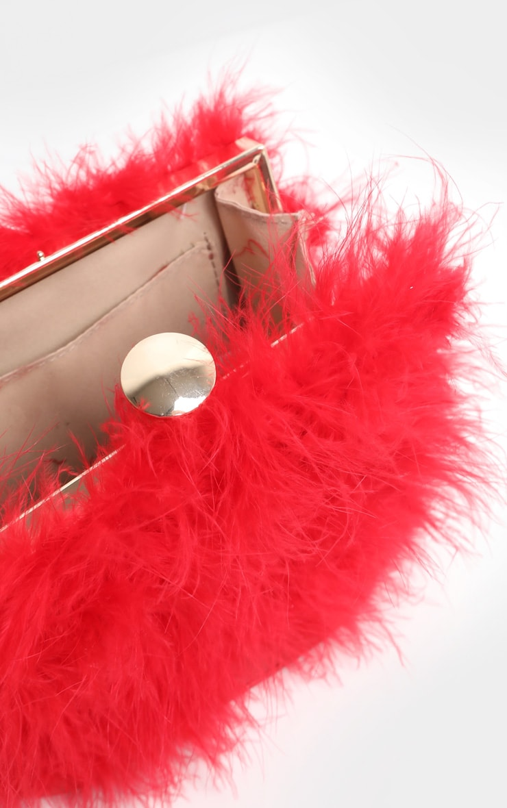 Red Marabou Large Clutch Bag 4