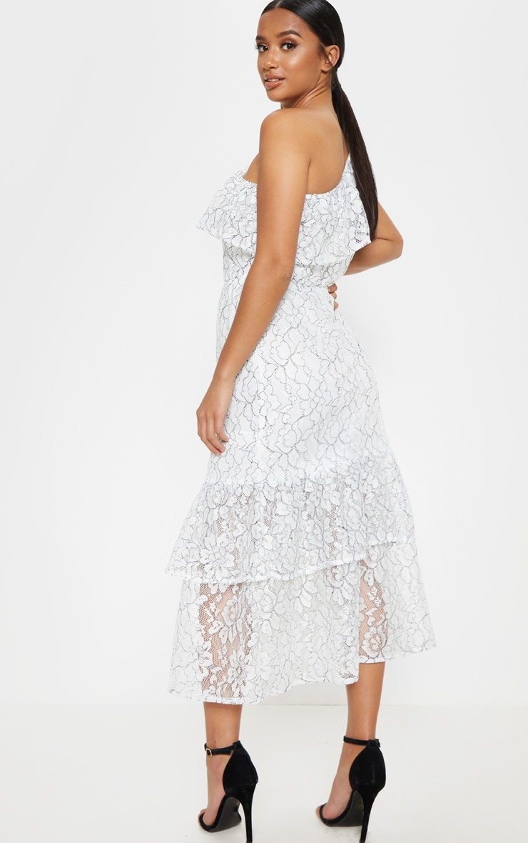 Petite White Off The Shoulder Multi Frill Midaxi Dress 2