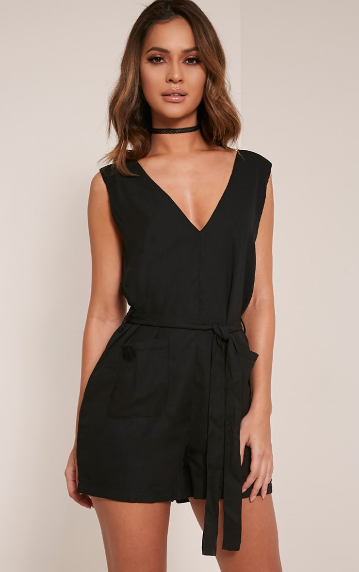 Mazie Black Sleeveless Playsuit 1