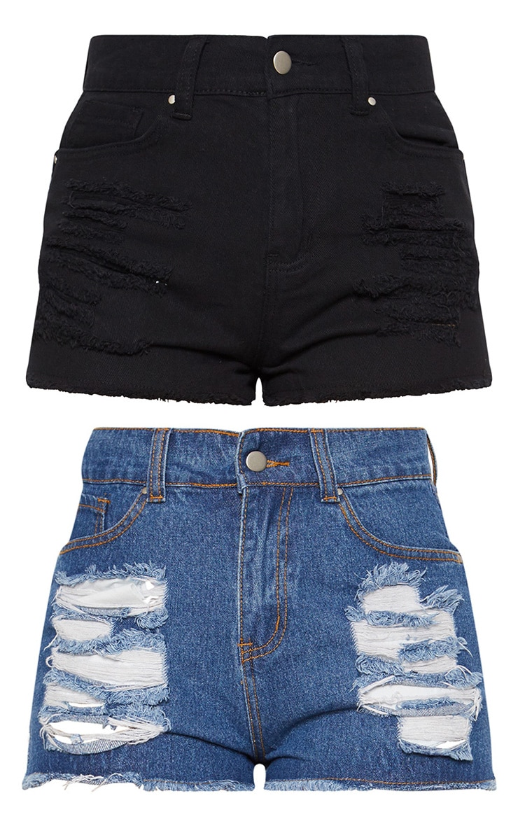 Black/Mid Wash 2 Pack Elana Ripped Denim Hot Pants 4