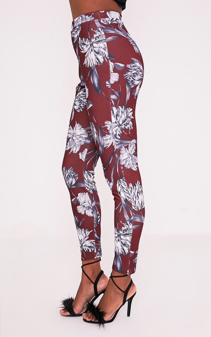 Anaya Burgundy Floral Cigarette Trousers 4