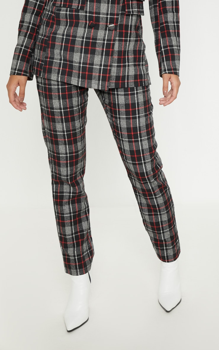 Black Check Woven Suit Pants 2