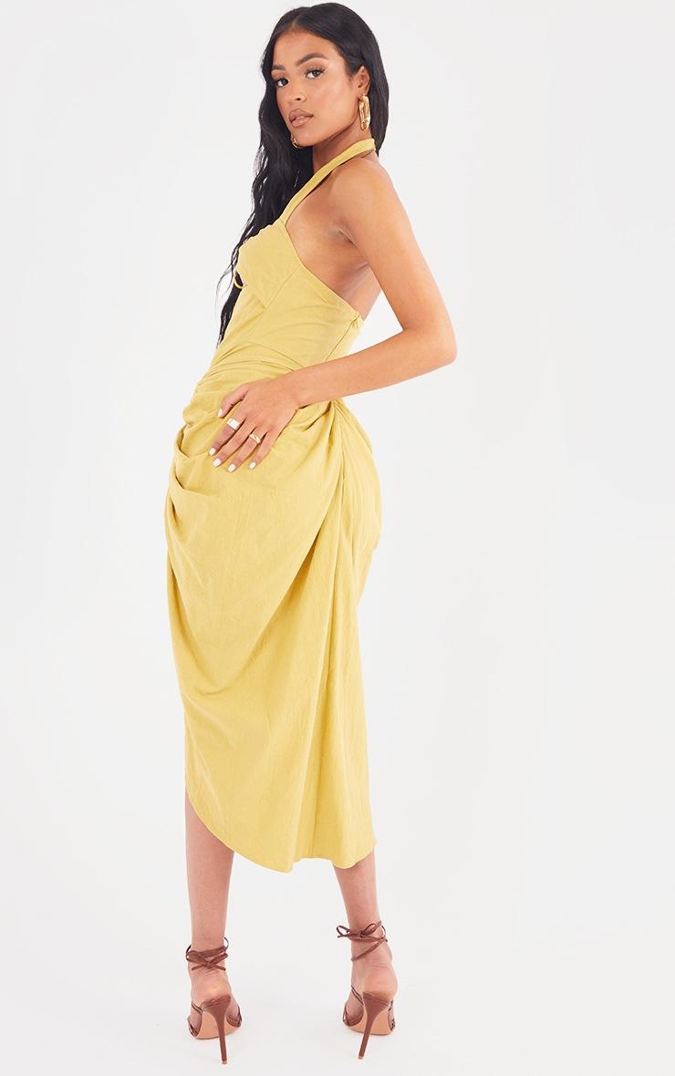 Tall  Lime Textured Halterneck Ring Detail Gathered Skirt Midi Dress 2