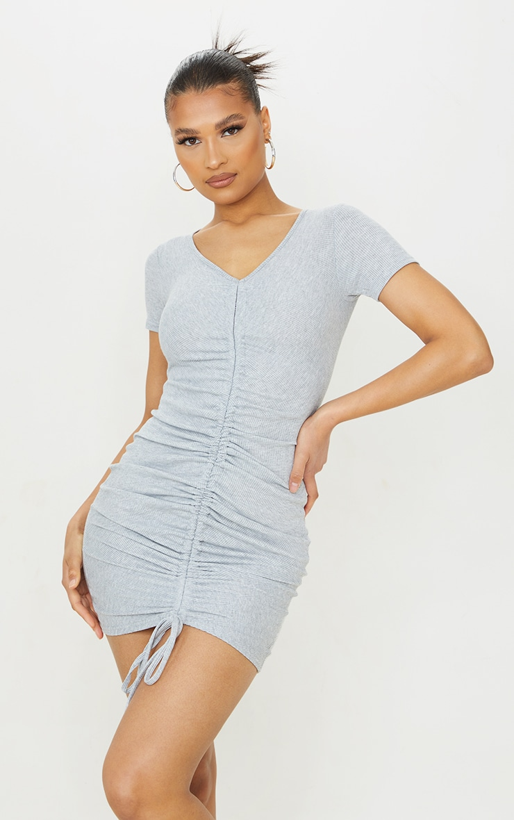 Grey Rib Ruched Front Short Sleeve Bodycon Dress 3