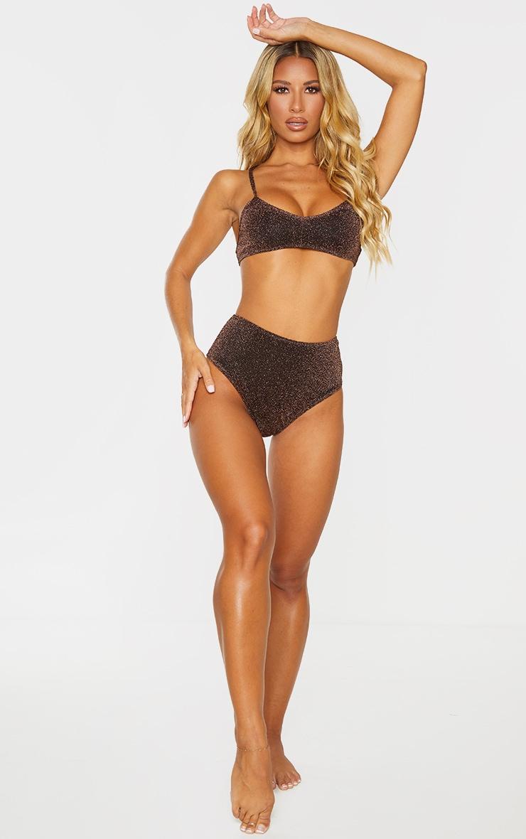 Brown Glitter Scoop Neck Bikini Top 3