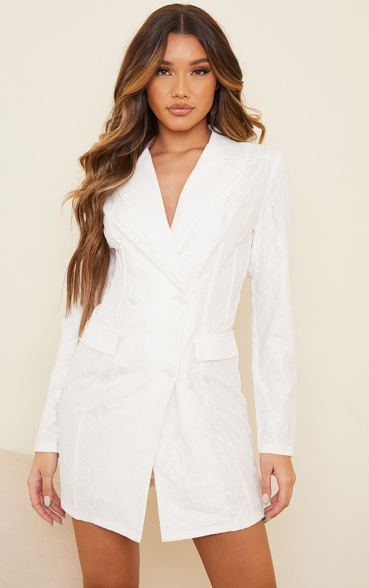 White Lace Boning Detail Blazer Dress