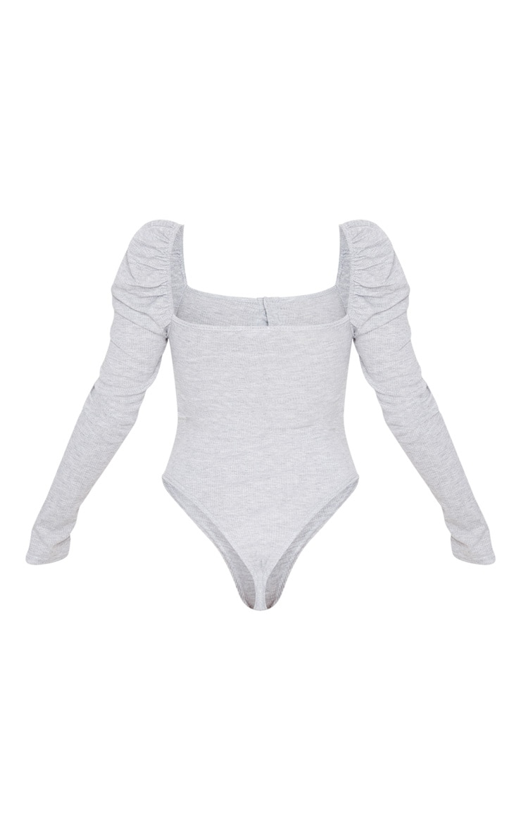 Grey Rib Puff Long Sleeve Bodysuit 3