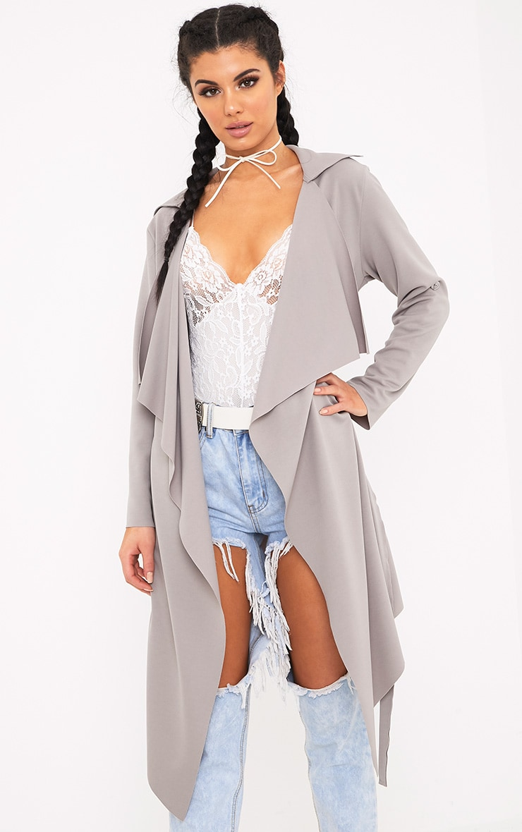Annalie Grey Belted Waterfall Coat 1
