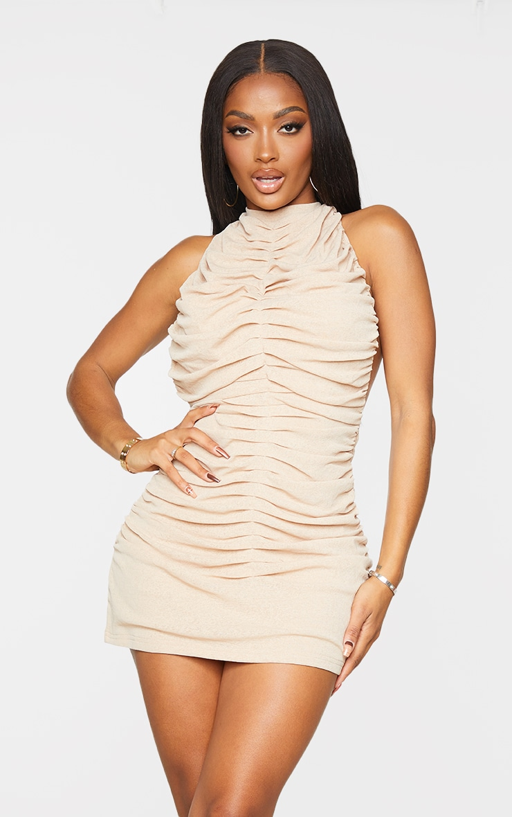 Shape Stone Halterneck Ruched Backless Bodycon Dress 1